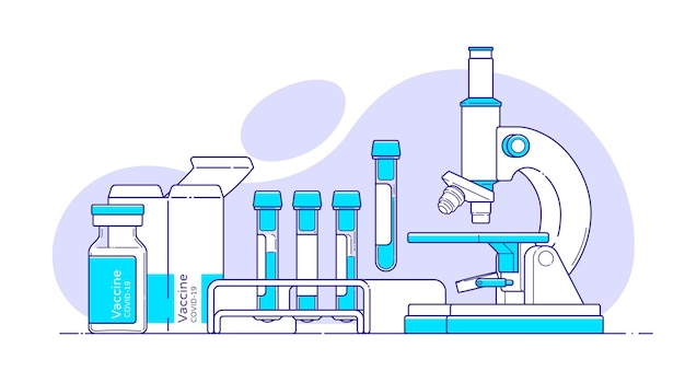 Medical illustration with microscope, blood test tube, covid vaccine in flat style with outline