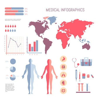 Medical info graphic set with chart vector elements