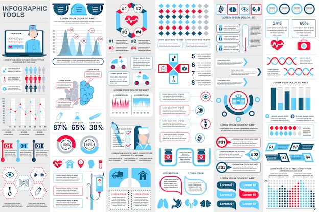 Medical infographic elements data visualization vector design template