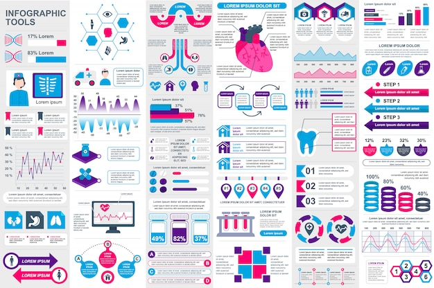 Medical infographic elements vector design template