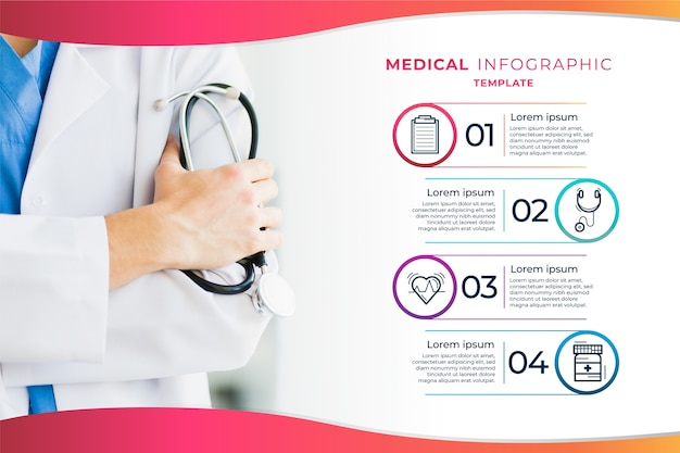 Medical infographic template with doctor