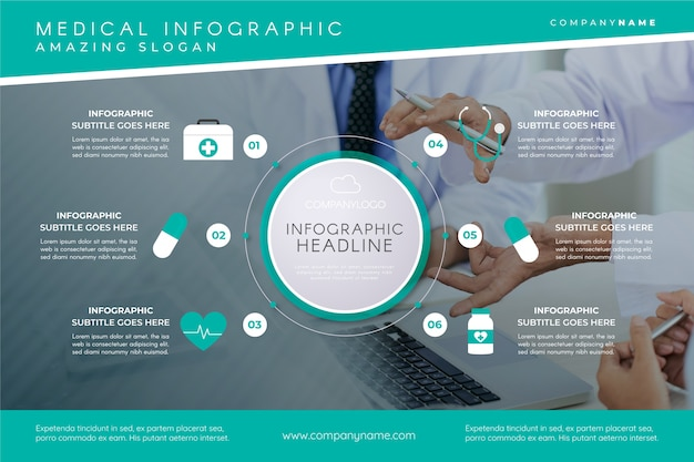Medical infographic template with image