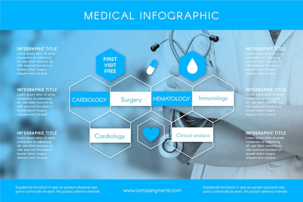 Medical infographic template with photo