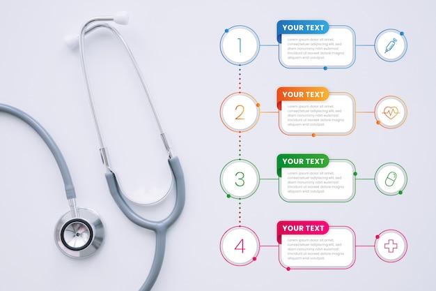 写真と医療のインフォグラフィックテンプレート