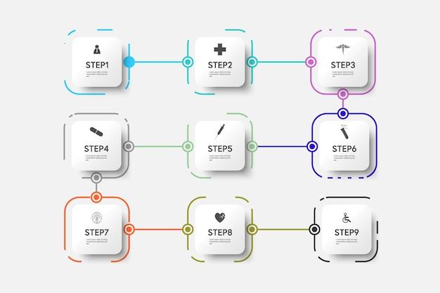 アイコンと9つのオプションまたはステップを備えた正方形のテンプレートデザインによる医療インフォグラフィック細線プロセス。ベクトルイラスト。