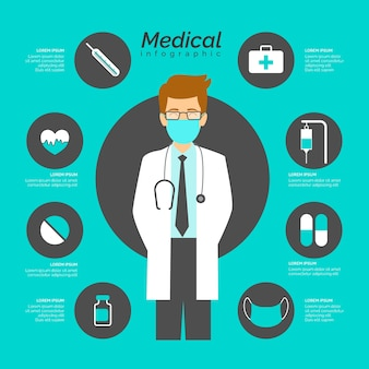 Medical infographic with doctor