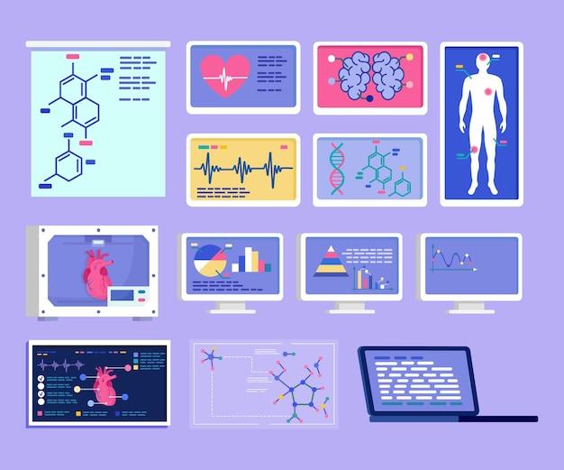 건강 분석 차트와 의료 infographic 그래픽 의료에서 벡터 일러스트 레이 션 인간의 마음을 설정합니다...