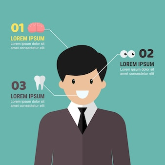 Medical infographic with man character. vector illustration