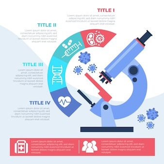 Medical infographic with microscope