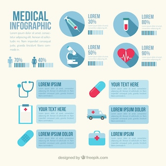 Medical infography in blue color