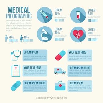 Медицинская infography в синий цвет