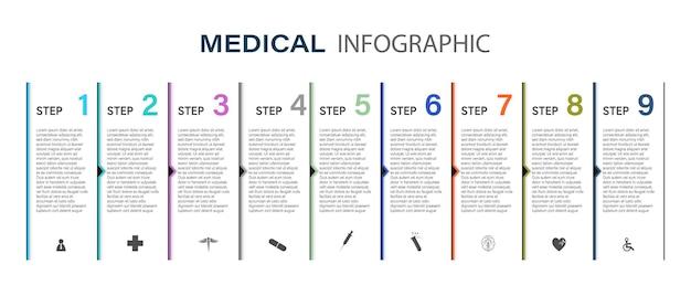 医療情報表示プロセスチャートステップ、オプション、セクションまたはプロセスを含む図の抽象的な要素プレゼンテーション用のベクトルビジネステンプレートインフォグラフィックのクリエイティブなコンセプト