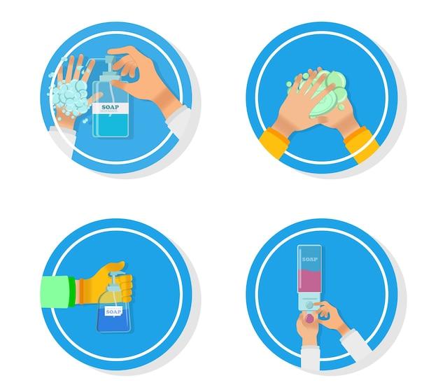 의료지도는 손 씻기의 적절한 관리, 박테리아의 예방 유지, 건강 관리를 단계적으로 진행합니다. 손 세척. 손 세정제. 알코올 기반 손 문지름. 소독 용 알코올.