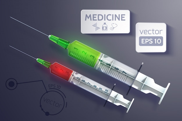 Medical instrument with syringes ready for injection in realistic style illustration