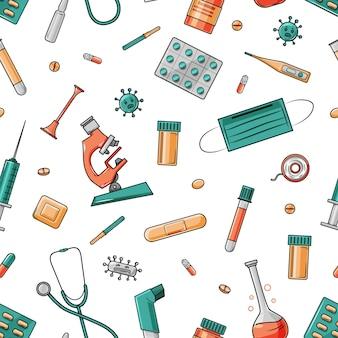Медицинские инструменты и лекарства мультфильм бесшовные модели на белом фоне.