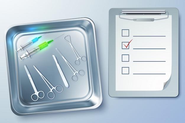 Медицинские инструменты со шприцами, щипцами, скальпелем, ножницами, блокнотом в стерилизаторе