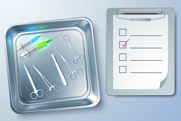 Medical instruments with syringes forceps scalpel scissors notepad in sterilizer illustration