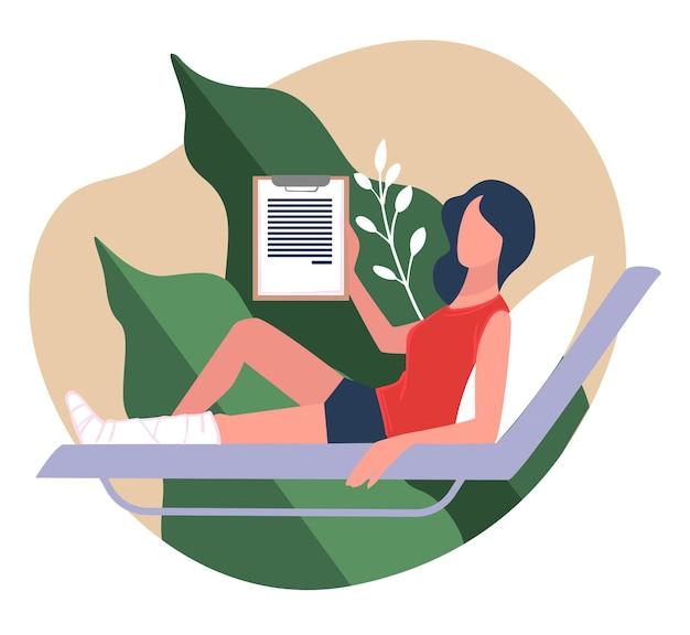 의료 보험 및 의료, 의료 비용 및 절차를 다루는 문서. 다리가 부러진 채로 침대에 누워 있는 여성, 사고 시 보호 보장, 플랫 스타일의 벡터