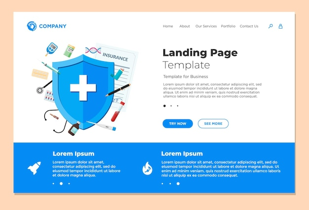 Medical insurance or health care concept landing page design template blue shield on patient