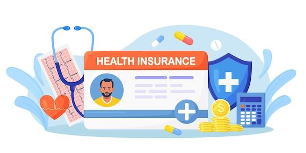 Идентификационная карточка медицинского страхования с большим щитом, стетоскопом, лекарствами, деньгами, кардиограммой. защита здоровья и жизни с помощью документа. страховой случай