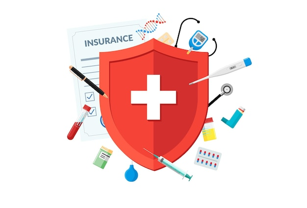 Medical insurance or immune system concept red shield on patient protection policy with medicine