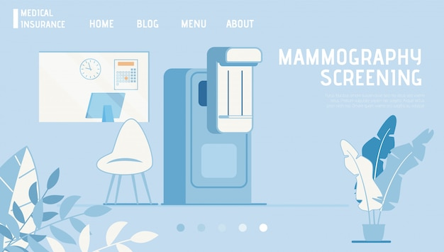 Medical insurance landing page offers mammogram