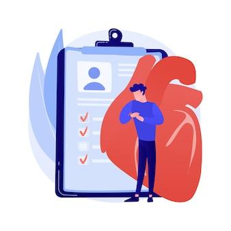 의료 보험, 생명 보장. 심장 마비, 심장 정지, 상심 아이디어 디자인 요소. 건강 보호 계약, 부정맥 진단. 벡터 격리 된 개념은 유 그림