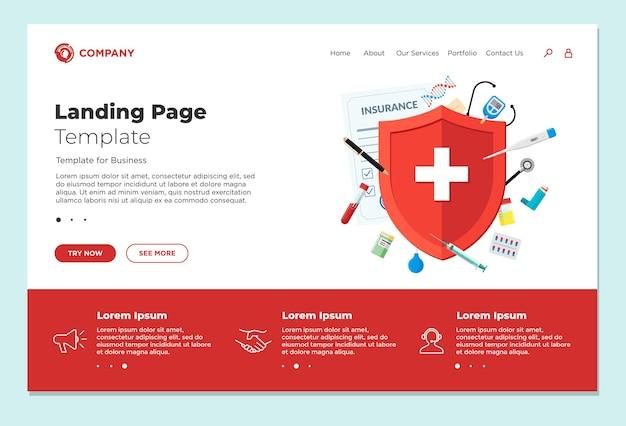 의료 보험 또는 면역 체계 개념 방문 페이지 디자인 템플릿 환자에 대한 빨간색 방패