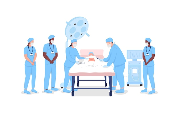 手順フラットカラーベクトル顔のない文字でプロの外科医を見ている医療インターン。ウェブグラフィックデザインとアニメーションのための医療訓練分離漫画イラスト