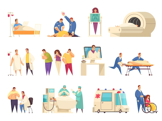 Medical isolated icon set with er nursing home hospitalization reanimation mri descriptions vector illustration