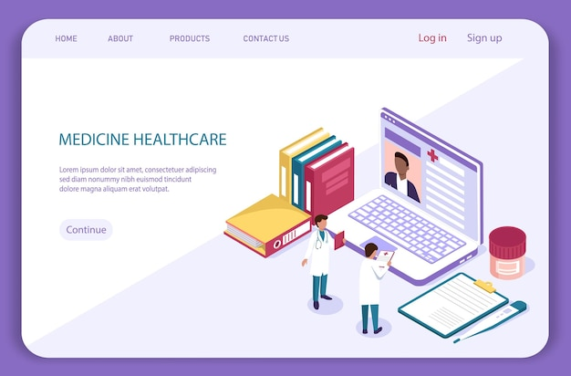 Medical isometric concept. diagnosis with patient and doctor, medical exam. healthcare landing page