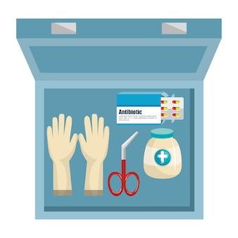 Набор медицинских элементов значок дизайн векторной иллюстрации