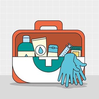 Медицинская аптечка с иллюстрацией принадлежностей