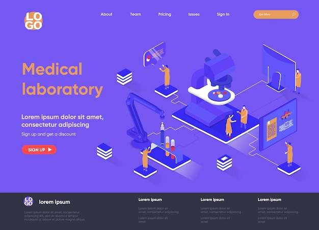 Medical laboratory 3d isometric landing page website   illustration with people characters