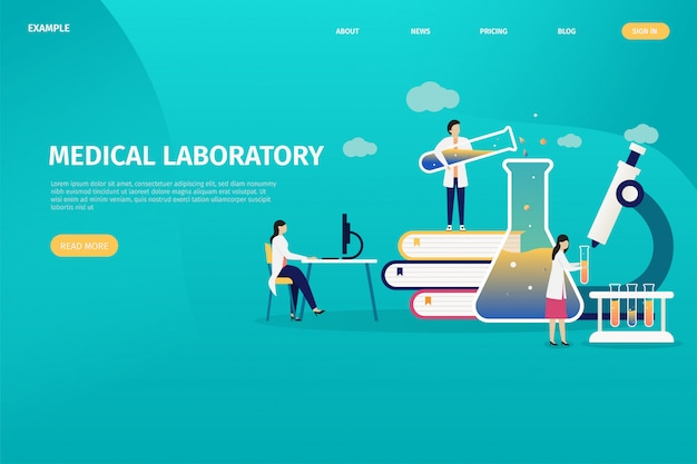Medical laboratory design concepts, individual health tests, personal analysis.