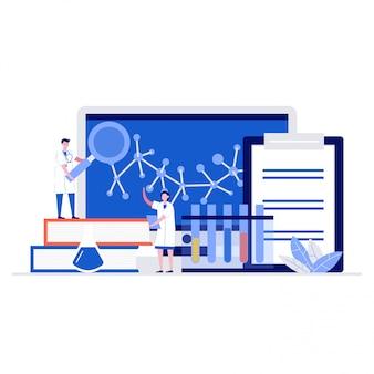 Концепция иллюстрации медицинской лаборатории с персонажами. профессиональный врач и медсестра.