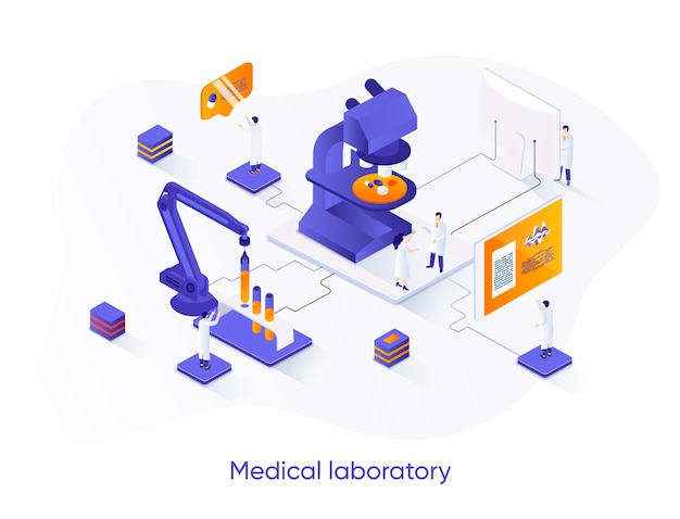 Медицинская лаборатория изометрической иллюстрации с персонажами людей