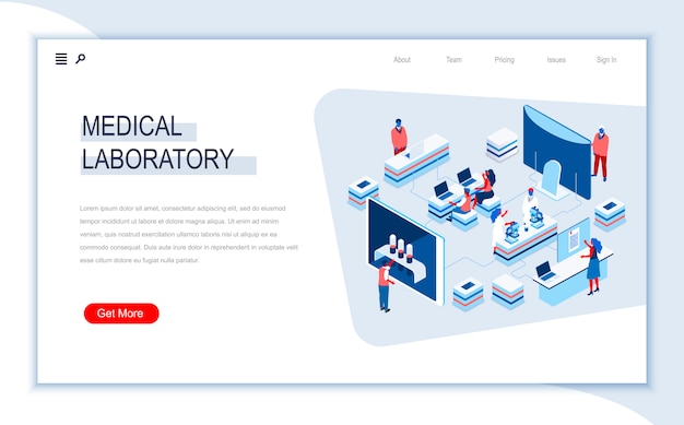 Medical laboratory isometric landing page template.