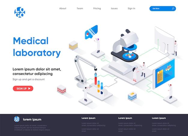 Medical laboratory isometric landing page template