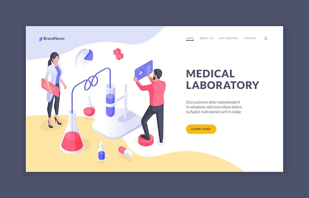 Medical laboratory isometric vector web page design