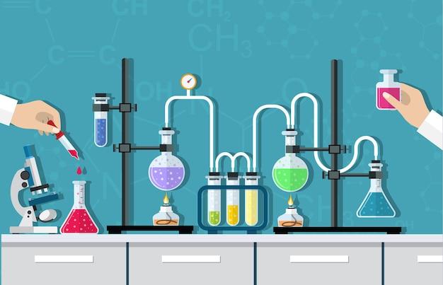 医療研究所。化学、物理学、生物学の研究、テスト、研究。研究所の備品。ピペットと試験管を持つ医師の手。