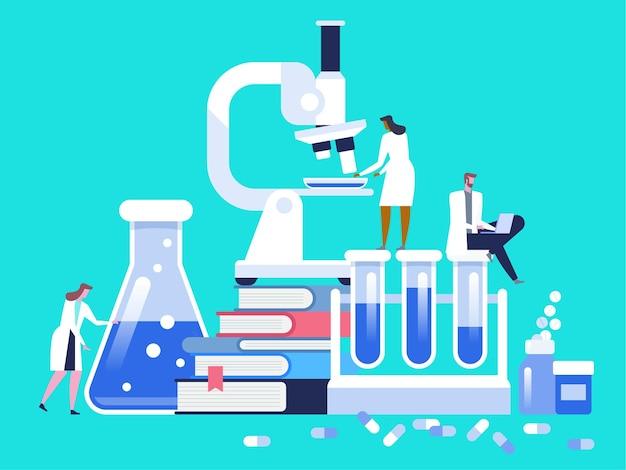 현미경, 과학 유리 테스트 튜브, 책 및 알약으로 의료 실험실 연구.