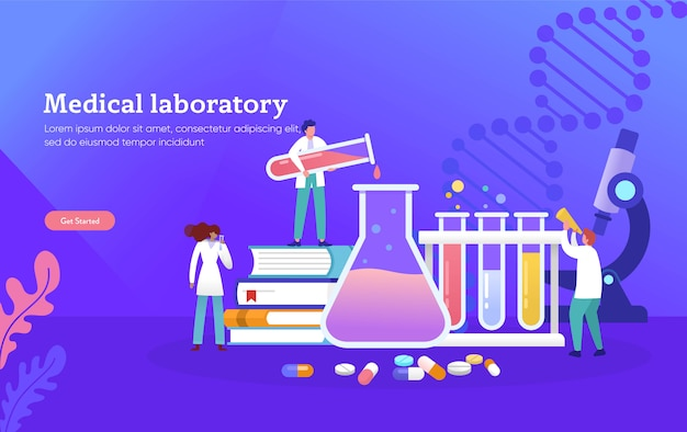 Medical laboratory research with science glass tube vector illustration concept
