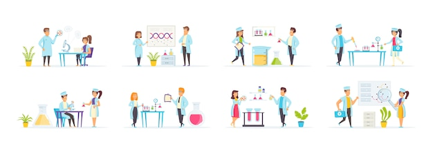 Medical laboratory set with people characters in various scenes and situations.