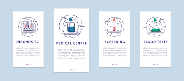 Medical laboratory tests - onboarding mobile application page templates