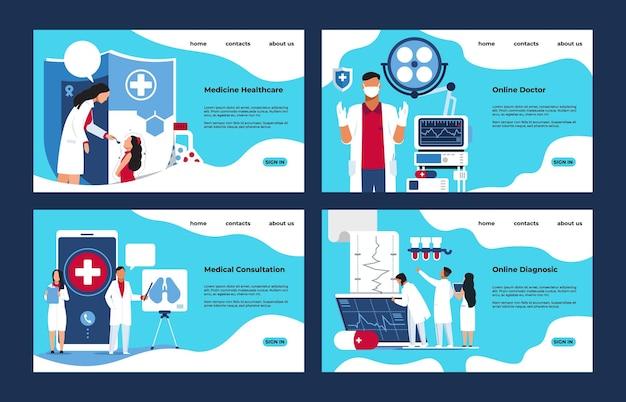 의료 방문 페이지입니다. 사람들이 만화 캐릭터와 함께 약국 실험실 진단 및 치료 개념. 전자 제품 개념 건강과 같은 벡터 일러스트 레이 션 웹 페이지 모형
