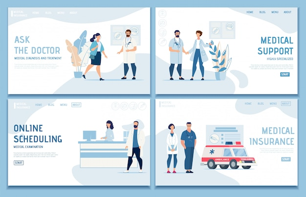 Medical landing page set offer professional help