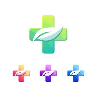 Medical leaf and cross health logo set