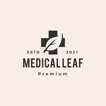 医療リーフヒップスターヴィンテージロゴ