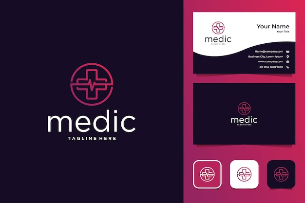 Medical line art style logo design and business card